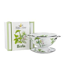 Herbs Enamelware 2-Piece Giftboxed Colander