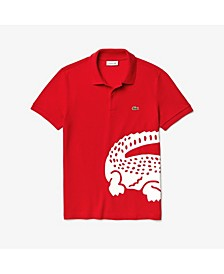 Men's Regular Fit Short Sleeve Cotton Petit Pique Polo Shirt with Oversize Croc