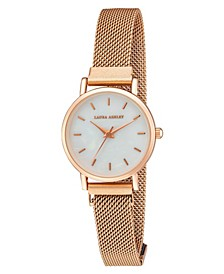 Women's Sleek Blush Alloy Mesh Magnet Bracelet Watch 29mm