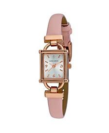 Women's Petite Hinge Pink Polyurethane Strap Watch 22mm