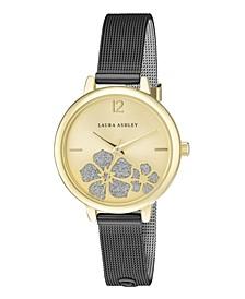 Women's Sunray Floral Stone Dial Black Alloy Bracelet Watch 34mm