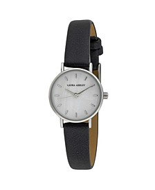 Women's Mini Slim Clean Black Polyurethane Strap Watch 26mm