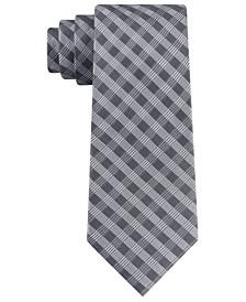 Men's Leveled Check Slim Silk Tie