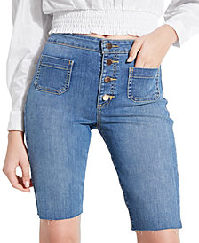 GUESS Button-Fly Denim Bermuda Shorts