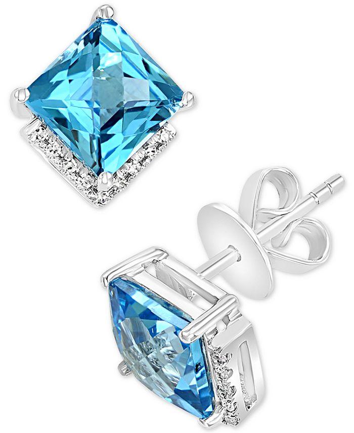 LALI Jewels - Swiss Blue Topaz (4-7/8 ct. t.w.) & Diamond (1/20 ct. t.w.) Square Stud Earrings in 14k White Gold