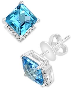 Swiss Blue Topaz (4-7/8 ct. t.w.) & Diamond (1/20 ct. t.w.) Square Stud Earrings in 14k White Gold