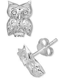Crystal Owl Stud Earrings in Sterling Silver, Created for Macy's