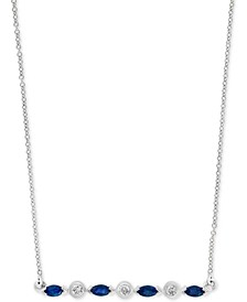 "Emerald (1/3 ct. t.w), Certified Ruby (3/8 ct. t.w.) or Sapphire (3/8 ct. t.w.) & Diamond (1/10 ct. t.w.) 18"" Bar Necklace in 14k Gold, 14k Rose Gold or 14k White Gold"