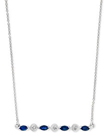 """LALI Jewels Emerald (1/3 ct. t.w), Certified Ruby (3/8 ct. t.w.) or Sapphire (3/8 ct. t.w.) & Diamond (1/10 ct. t.w.) 18"""" Bar Necklace in 14k Gold, 14k Rose Gold or 14k White Gold"""