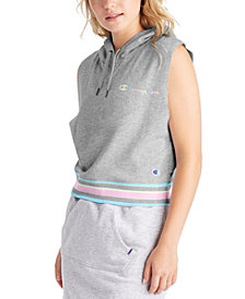 Champion Women's Campus Varsity-Stripe Sleeveless Hoodie