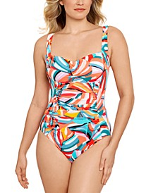 Shirred Tummy-Control One-Piece Swimsuit, Created for Macy's
