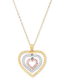 "Tricolor Graduated Heart 18"" Pendant Necklace in 10k Yellow, White & Rose Gold"