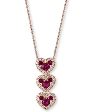 """Ruby (1/2 ct. t.w.) & Diamond (1/6 ct. t.w.) 18"""" Pendant Necklace in 14k Rose Gold"""