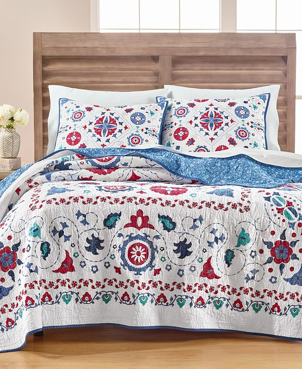 Martha Stewart Collection Vintage Folklore Full/Queen Quilt, Created for Macy's