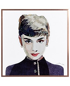 """Beautiful Audrey on Reverse Printed Art Glass and Anodized Aluminum Frame Wall Art, 16"""" x 16"""" x 1"""""""