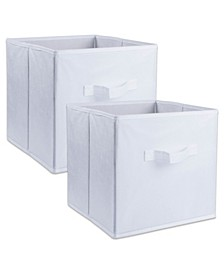 Non-woven Polypropylene Cube Solid White Square Set of 2
