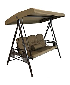 3-Person Outdoor Adjustable Tilt Canopy Patio Swing Bench