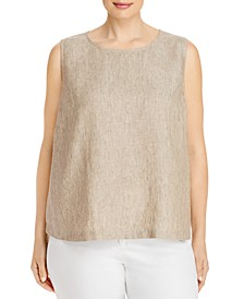 Plus Size Organic Linen Sleeveless Top