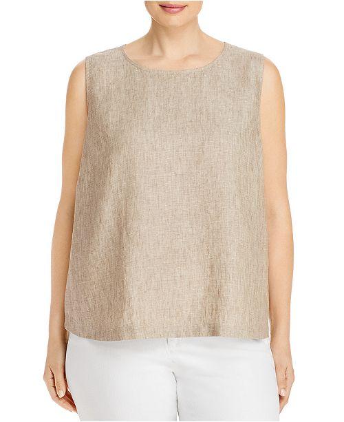 Eileen Fisher Plus Size Organic Linen Sleeveless Top