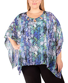 NY Collection Plus Size Printed Poncho Top