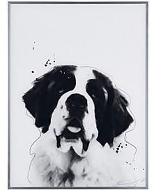 "Saint Bernard Pet Paintings on Reverse Printed Glass Encased with a Gunmetal Anodized Frame Wall Art, 24"" x 18"" x 1"""