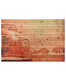 "Old Car Arte de Legno Digital Print on Solid Wood Wall Art, 45"" x 30"" x 1.5"""