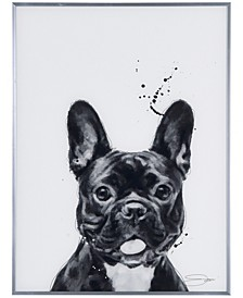 "French Bulldog Pet Paintings on Reverse Printed Glass Encased with a Gunmetal Anodized Frame Wall Art, 24"" x 18"" x 1"""