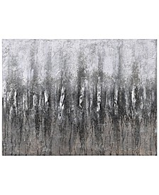 "Gray Frequency Textured Metallic Hand Painted Wall Art by Martin Edwards, 30"" x 40"" x 1.5"""