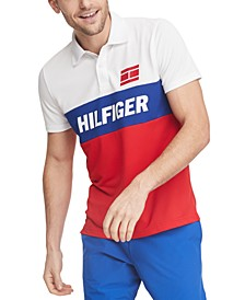 Men's Ezra Custom-Fit Colorblocked Logo Wicking Polo Shirt
