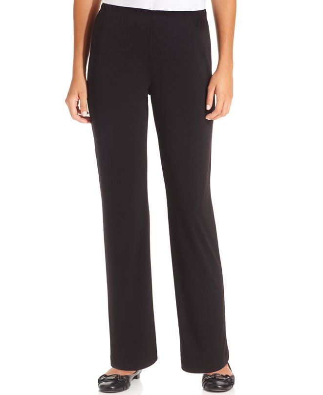 NY Collection Petite Pull-On Straight-Leg Pants