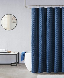 "Metro Woven Clipped Solid Shower Curtain, 72"" W x 72"" L"