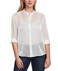 Women's Long Sleeve Roll Tab Sparkle Organza Shirt