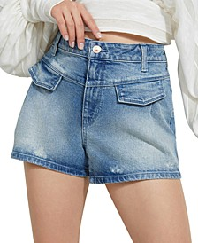 Pleated Front Denim Shorts
