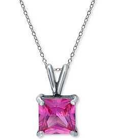 """Cubic Zirconia Square-Cut Solitaire 18"""" Pendant Necklace in Sterling Silver, Created for Macy's"""