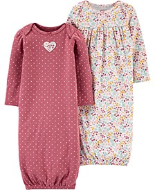 Baby Girls 2-Pk. Cotton Floral Sleeper Gowns