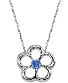 """Cubic Zirconia Flower 18"""" Pendant Necklace in Sterling Silver, Created for Macy's"""