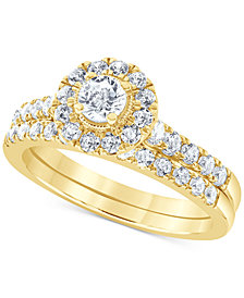 Diamond Halo Bridal Set (1 ct. t.w.) in 14k White, Yellow or Rose Gold
