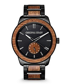 Men's Sapele Wood Paired with a Black Stainless Steel Bracelet Watch 46mm