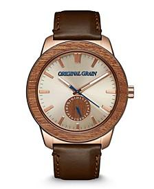 Men's Brown Genuine Leather Strap Watch 46mm