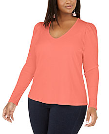 INC Plus Size Ribbed-Knit Puff-Sleeve Top, Created for Macy's