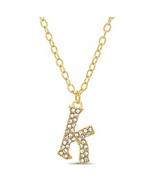 "Women's Gold-Tone Rhinestone ""K"" Initial Necklace"