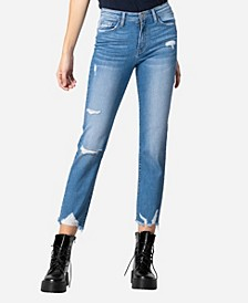 High Rise Destroyed Hem Straight Crop Jeans