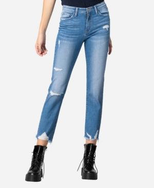 High Rise Destroyed Hem Straight Crop Jeans