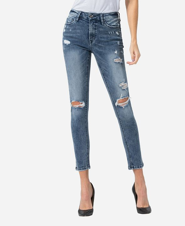 VERVET Mid Rise Distressed Acid Wash Skinny Ankle Jeans