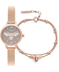 Women's Mini Lucky Bee Rose Gold-Tone Stainless Steel Mesh Bracelet Watch 23mm Gift Set
