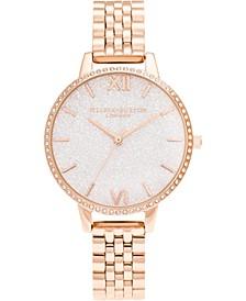 Women's Glitter Rose Gold-Tone Stainless Steel Bracelet Watch 34mm