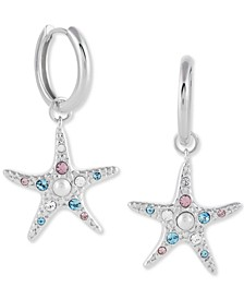 Imitation Pearl & Swarovski Crystal Starfish Drop Earrings in Sterling Silver