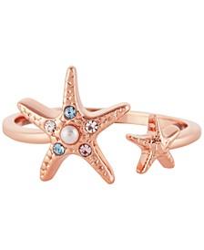 Imitation Pearl & Swarovski Crystal Starfish Cuff Ring in Rose Gold-Plated Brass