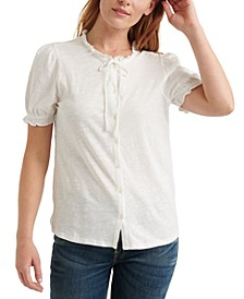 Ruffled Button-Down Top