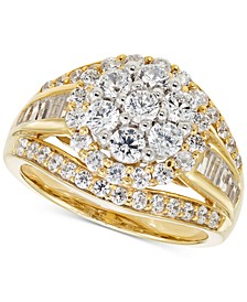 Diamond Cluster Triple Row Ring (2 ct. t.w.) in 14k Gold